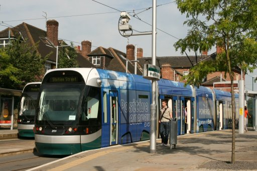 Nottingham Express Transit tram 201 at High School stop