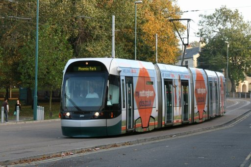 Nottingham Express Transit tram 201 at The Forest