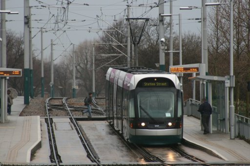 Nottingham Express Transit tram 207 at Wilkinson Street stop