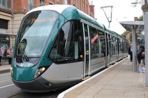Nottingham Express Transit tram 228 at Lace Market stop