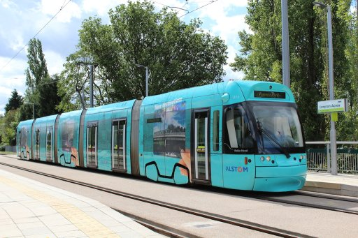 Nottingham Express Transit tram 211 at Compton Acres stop