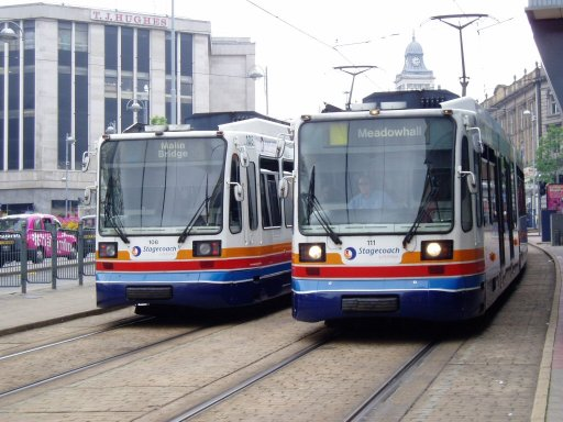 Sheffield Supertram tram 111 at city