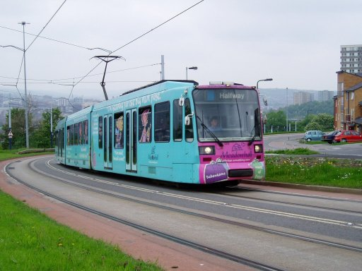 Sheffield Supertram tram 120 at Park Grange Road