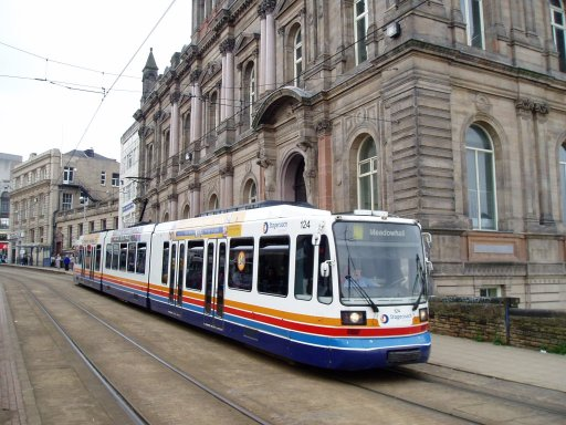 Sheffield Supertram tram 124 at Fitzalan Square/Ponds Forge stop