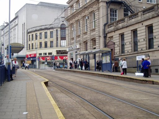 Sheffield Supertram tram stop at Fitzalan Square/Ponds Forge