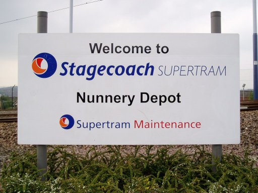 Sheffield Supertram sign at Nunnery depot