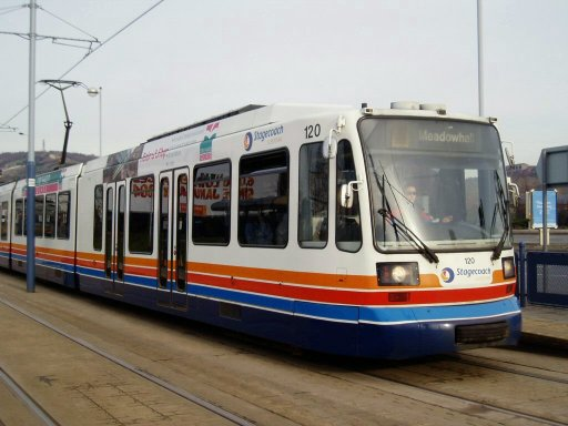 Sheffield Supertram tram 120 at Shalesmoor