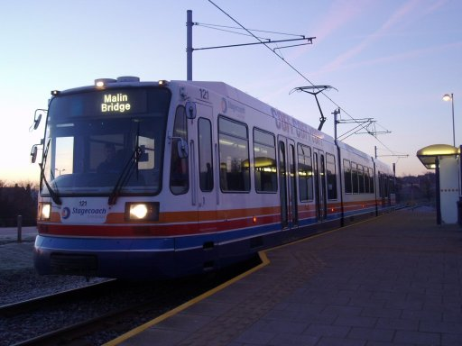 Sheffield Supertram tram dawn at Halfway stop