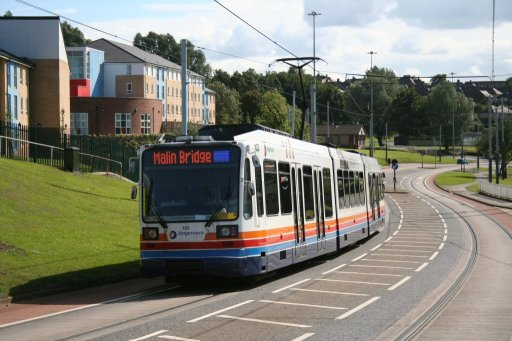 Sheffield Supertram tram 123 at Park Grange Road