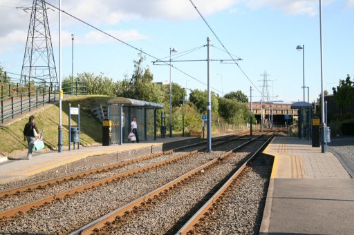 Sheffield Supertram tram stop at Meadowhall South/Tinsley