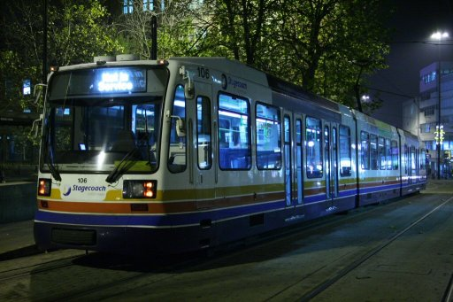 Sheffield Supertram tram 106 at Cathedral stop