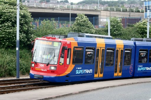 Sheffield Supertram tram 104 at Nunnery Square
