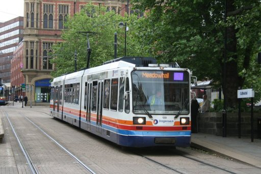 Sheffield Supertram tram 120 at Cathedral stop