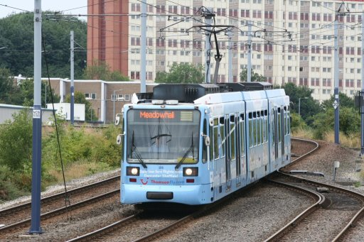 Sheffield Supertram tram 106 at Nunnery Square