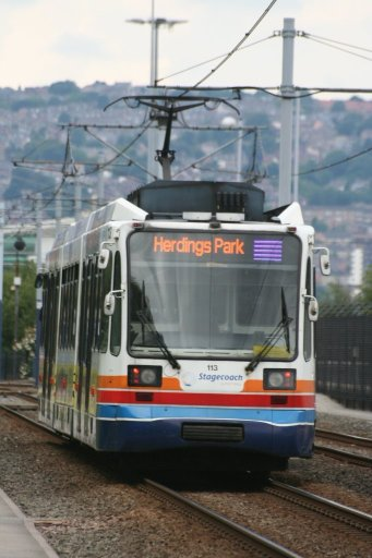 Sheffield Supertram tram 113 at Nunnery Square