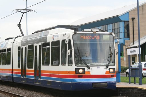 Sheffield Supertram tram 102 at Attercliffe stop