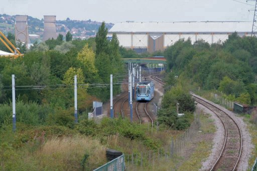Sheffield Supertram Meadowhall route at between Attercliffe and Arena