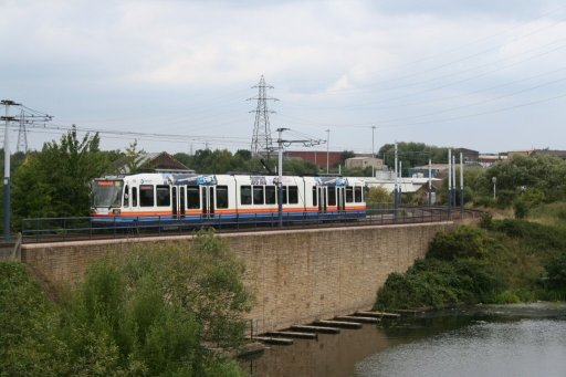 Sheffield Supertram tram 110 at between Attercliffe and Arena