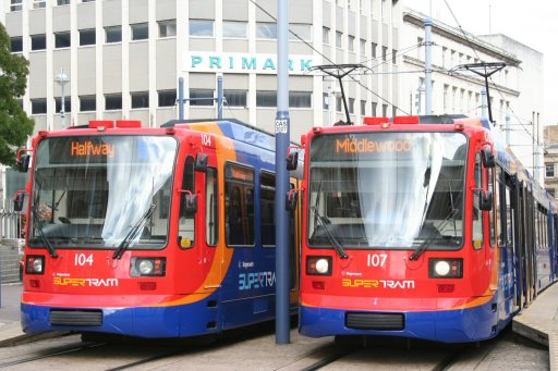 Sheffield Supertram tram 104 at Castle Square stop