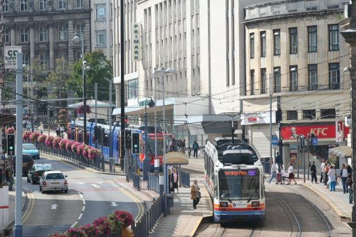 Sheffield Supertram Middlewood route at Fitzalan Square/Ponds Forge stop