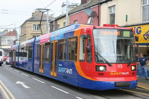 Sheffield Supertram tram 115 at Hillsborough stop