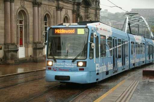 Sheffield Supertram tram 106 at Fitzalan Square/Ponds Forge stop