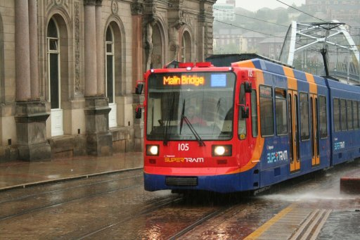 Sheffield Supertram tram 105 at Fitzalan Square/Ponds Forge stop
