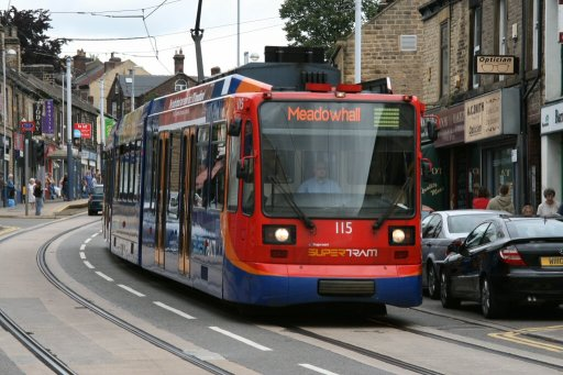 Sheffield Supertram tram 115 at Hillsborough