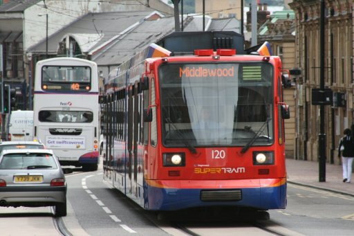 Sheffield Supertram tram 120 at Glossop Road