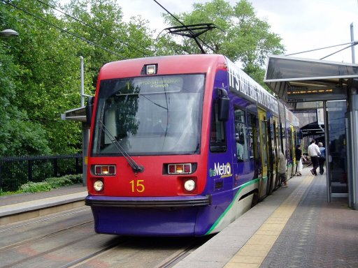 Midland Metro tram 15 at Jewellery Quarter stop