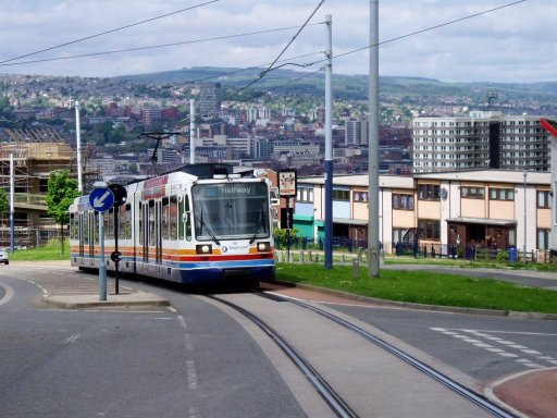Sheffield Supertram tram 101 at Park Grange Road