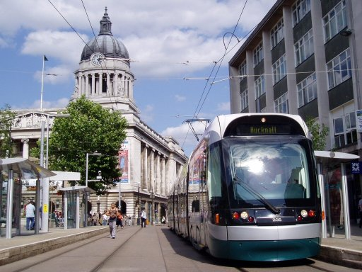 Nottingham Express Transit tram 205 at Old Market Square stop