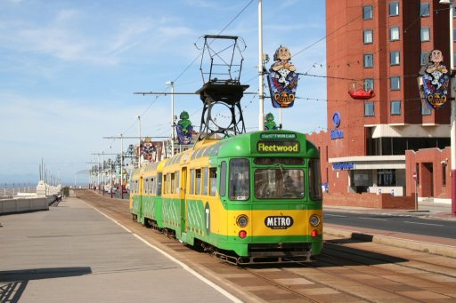 Blackpool Tramway tram 671 at Hilton Hotel, North Promenade, Blackpool
